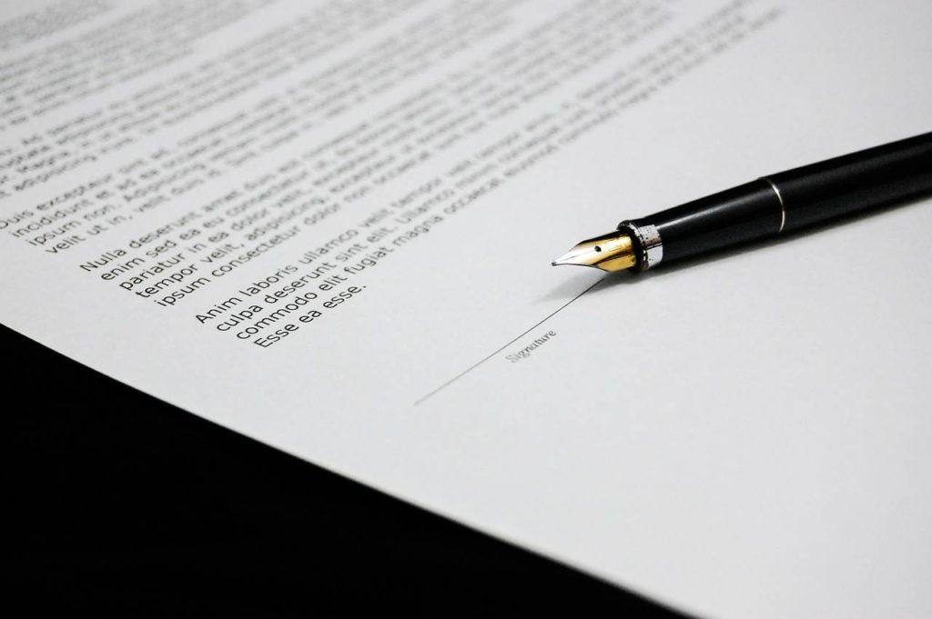 Ручка и место для подписи